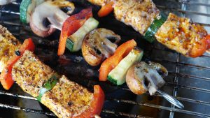 Kebabs on a grill